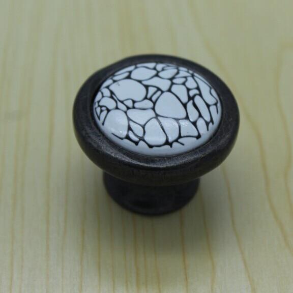 Diameter 37mm white crack ceramic kitchen cabinet knobs,antique zinc alloy drawer dresser wardrobe handles pulls knobs