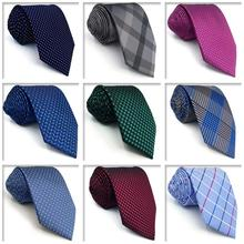Dot Paisley Checkes Mens Necktie Jacquard Woven Skinny Wedding Ties for Men Groom Business Party