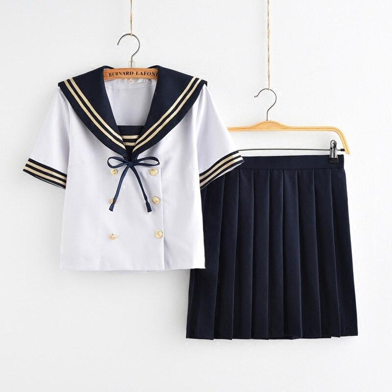 Filles uniformes scolaires japonais pour JK marinière à manches longues t-shirt Style Preppy collège Sexy jupe femme Cosplay Costume - 4
