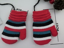 GLV907 4 9 years children s winter font b gloves b font Imitation cashmere striped Double