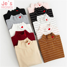 Sping Style Fashion Women Striped Harajuku Candy Colors Hearts T Shirt Kawaii Cotton Turtleneck Casual Tee Lady Cute Tops TS030