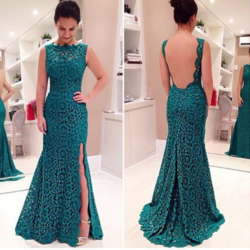 Women Party Dresses Elegant 2017 Girls Sexy Long Backless Dresses Green Flower Lace Formal Clothes Ladies Evening Dress Mothers