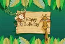 Laeacco Monkey Giraffe Baby Happy Birthday Party Photography Backdrops Customized Photographic Backgrounds For Photo Studio