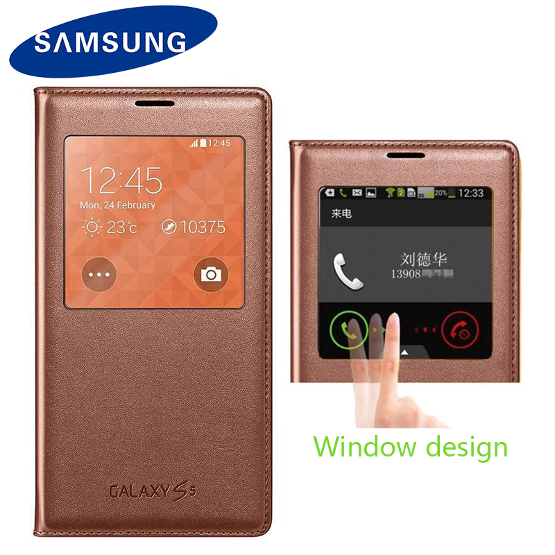 Samsung Flip-Case Shell Smart-View Sleep Original Without Galaxy S5 For G900 Couqe Wake