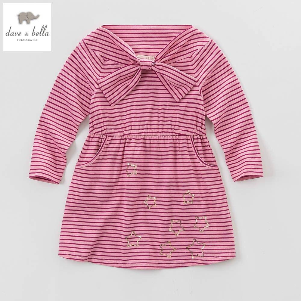 DK0594 dave bellas spring summer kids girl pink purple striped birthday princess dress girls butterfly cute dress