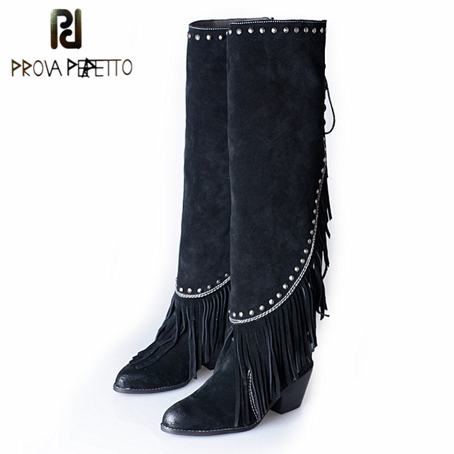 Prova Perfetto Fashion Brand Women Suede Leather Pointed Toe Fringe Knee High Boots Chunky High Heel Tassels Rivet Boots Mujer
