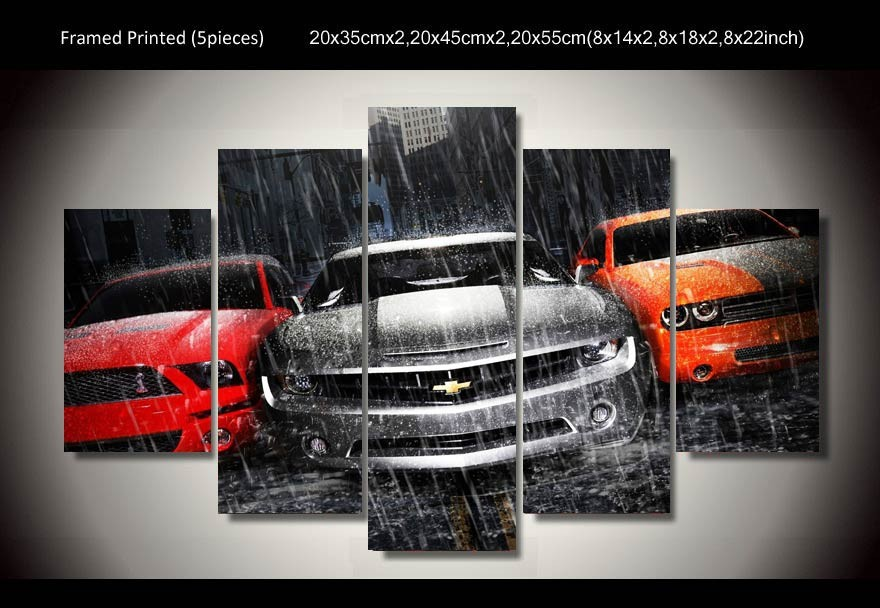 Framed Printed muscle cars 5 piece painting wall art children\'s room ...