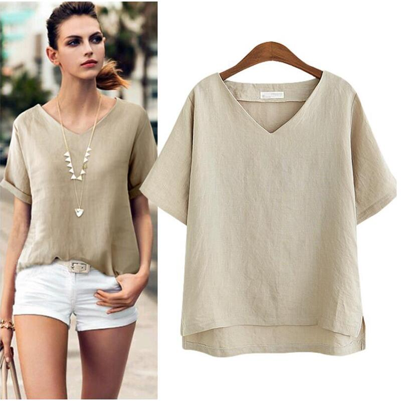 Cotton Linen   Blouse   Summer Short Sleeve Casual   Shirt   Women Tops Loose Blusa Mujer Vetement Femme Fashion Plus Size Women   Blouses