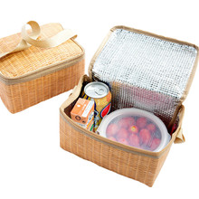 Portable Imitation Rattan Lunch bag Thicker insulated bag Insulated Canvas Lunch Bag Fold Thermal  Food Storage Basket