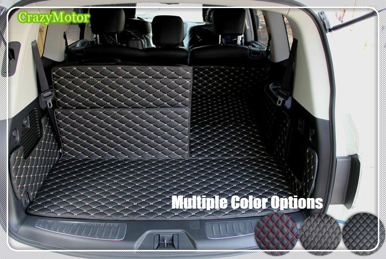 Car Rear Trunk Cargo Liner Mat Carpet interior Mats pad For Nissan Patrol Y62 2010 11 12 13 14 15 16 17 2018 interior black rear trunk cargo cover shield 1 pcs for kia sportage 2016 2017