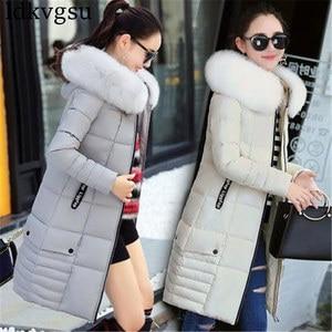 Image 2 - 2020 נשים חורף מעילים למטה כותנה ברדס מעיל בתוספת גודל מעיילי Mujer מעילי ארוך מעיל אופנה נשי פרווה צווארון מעילים a1297