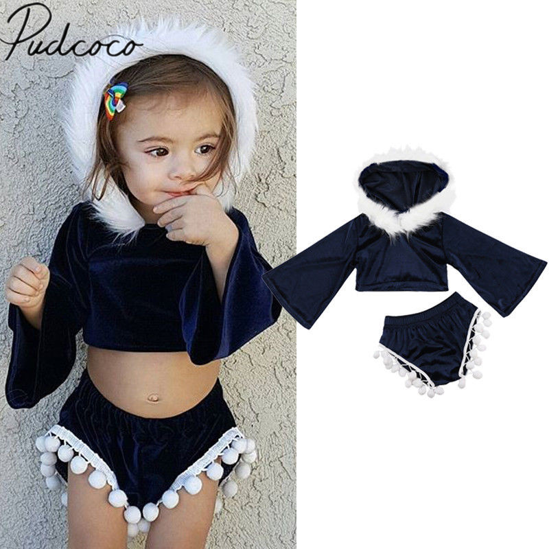 Newborn Baby Girl Velvet Clothes Crop Tops T-shirt Tassels Shorts Outfits Set US