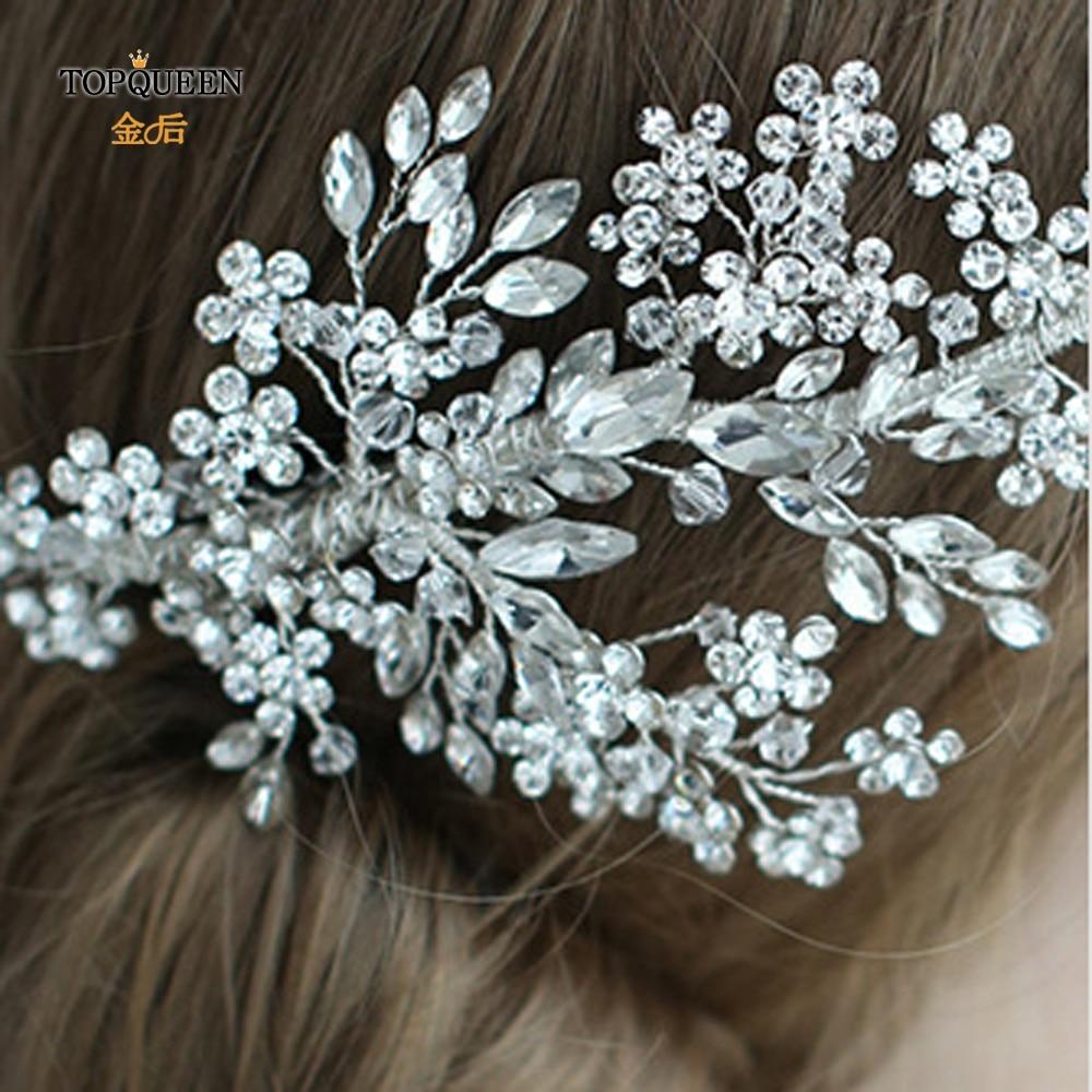Image 5 - TOPQUEEN HP253 Luxury crystal wedding hair jewelry bridal accessories wedding hair vine clip wedding tiara Bridal headband-in Bridal Headwear from Weddings & Events