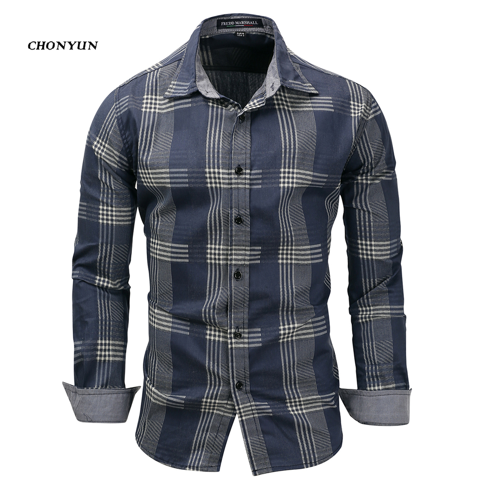 2020 Brand New Men's Casual Shirt Denim Long Sleeve Slim Fit Striped Shirts Business Camisa Breathable Dress Shirt Men Clothing