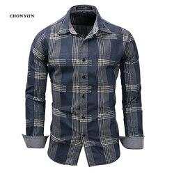 Brand New 2019 Men's Casual Shirt Denim Long Sleeve Slim Fit Striped Shirts Business Camisa Breathable Dress Shirt Men Clothing