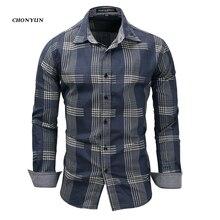 Brand New męskie koszule codzienne Denim z długim rękawem dopasowane w paski koszula biznes Camisa oddychająca męska odzież typu Outdoor