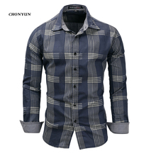 브랜드 뉴 남성 캐주얼 셔츠 데님 긴 소매 슬림 맞는 스트 라이프 셔츠 비즈니스 Camisa 통풍 남성 야외 의류