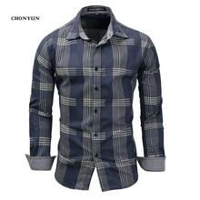 Marka yeni erkek Casual gömlek Denim uzun kollu Slim Fit çizgili gömlek iş Camisa nefes erkek dış giyim