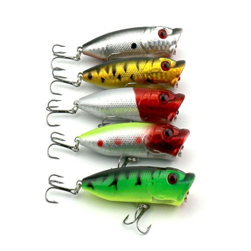 Big Sale 5pcs New Topwater Floating Popper Lure Hard Artificial Plastic Crankbaits 3D Fish Eyes Hook Fishing Tackle 6.5cm 13g