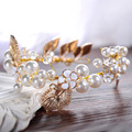 2017 Newest Pearls Wedding Hats Luxury Gold Hair Bands Bridal Hair Accessories Leaf Beaded Crystal chapeau mariage for Bride