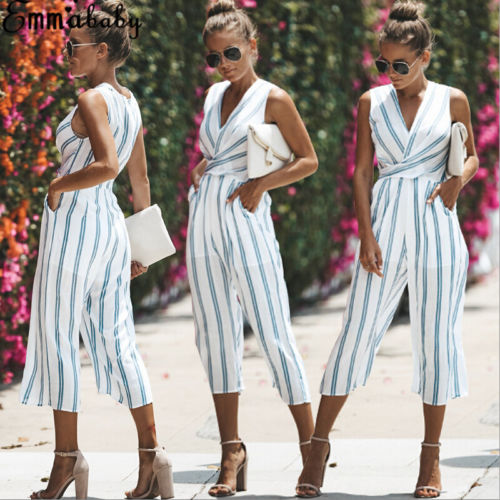 Women Sexy Sleeveless Jumpsuit Ladies Playsuit Party Jumpsuit Romper Wide Leg Long Trouser Pants Clubwear