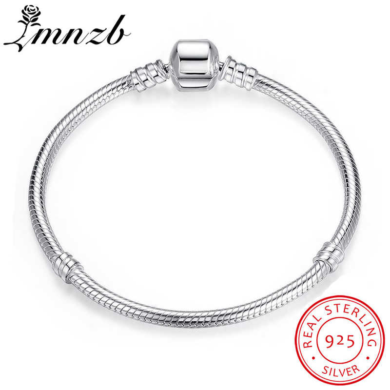 LMNZB 100% Original Solid 925 Sterling Silver 20cm Long Snake Chain Bracelet Bangle Wedding Jewelry for Women Gift LB005