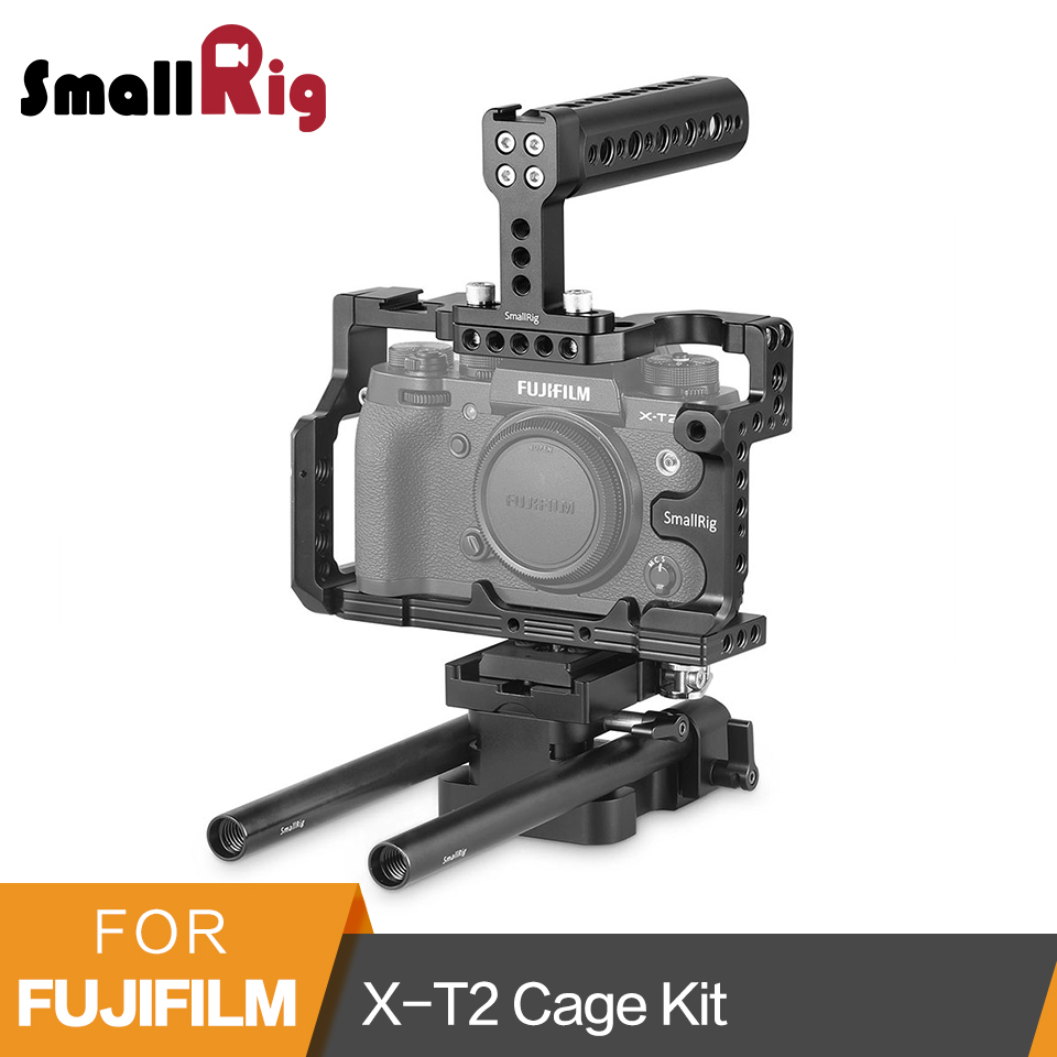 SmallRig DSLR Camera Cage Kit for Fujifilm X T2 Cage+Top Handle+Baseplate + 15mm Rod Quick Release DIY Accessories Kit 2194