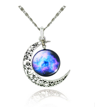 SBY0334 Classic Hot Women Fashion Galactic Glass Cabochon Pendant Silver-Tone Crescent Moon Necklace