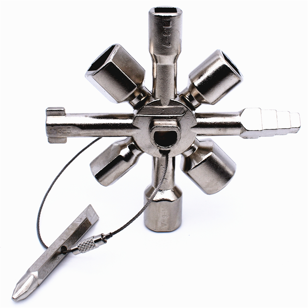 10 In 1 Multifunction Cross Switch Key Wrench Alloy Universal Square Triangle for Elevator Electrical Cupboard Box Train Cabinet wrench