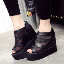 Fashion spring and summer women's shoes cutout gauze open toe platform shoe platform wedges women's ultra high heels shoes