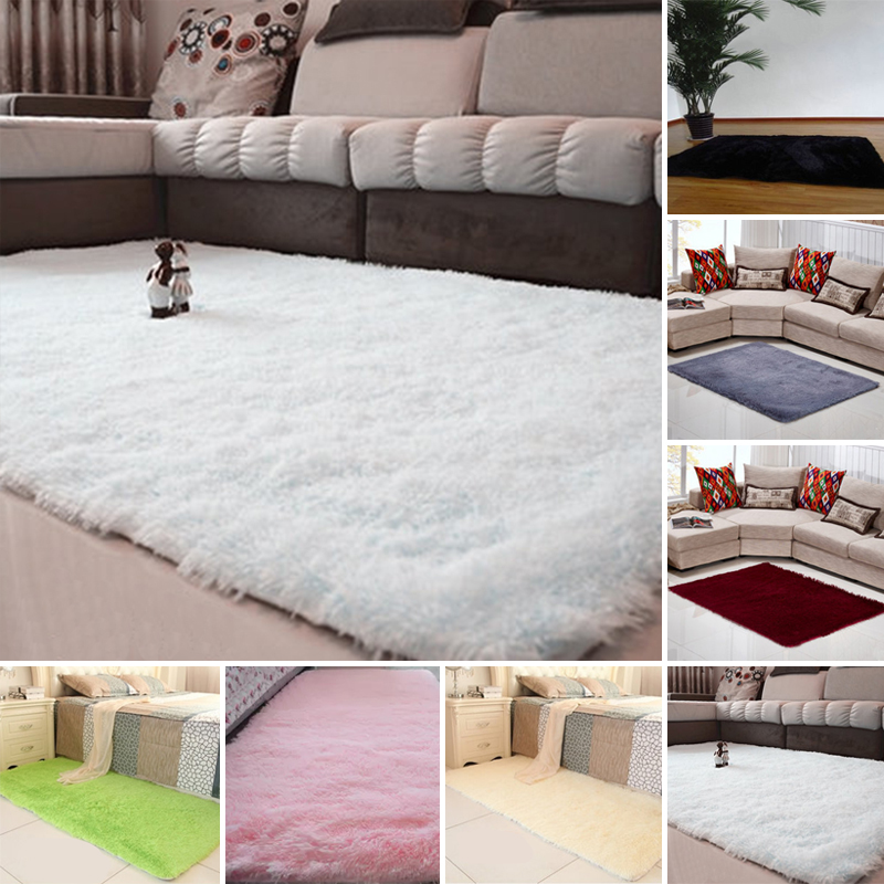 Fluffy Plush Rug Anti-Skid Shaggy Area Rug Living Dining Kids Room Home Bedroom Carpet Floor Mat Home Garden Supplies 80x120cm