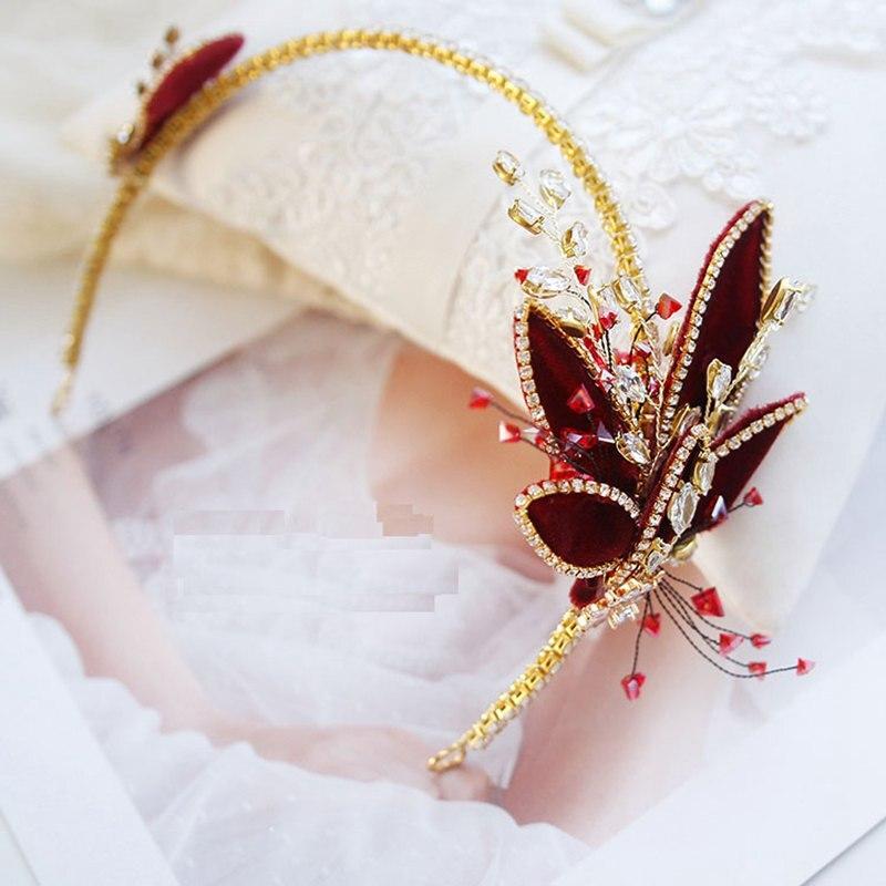 Chapellerie de mariée à la main accessoires de mariage vin rouge Velet Leafs cristal bandeau or cheveux bijoux strass bandeaux XL074