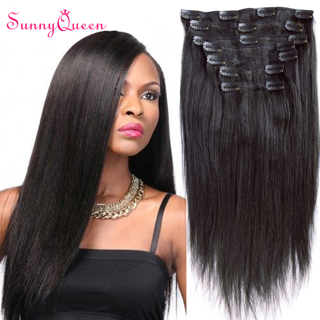8a Top Clip In Human Hair Extensions Brazilian Virgin Hair Light Yaki Straight Virgin Hair Clip In Hair Extensions Sunny Queen On Aliexpress