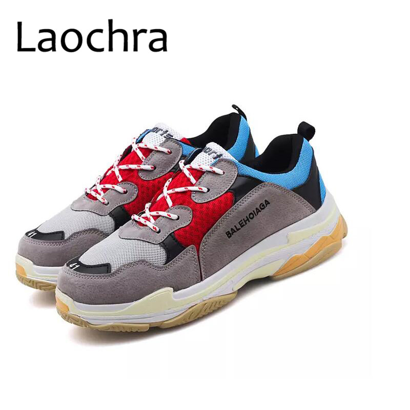 LAOCHRA Big Size 45 46 Air Mesh Dad Shoes Fashion Sneakers Lace-up Retro Style Clunky Sneakers Soft Spring Autumn Casual Flats pinsen fashion women shoes summer breathable lace up casual shoes big size 35 42 light comfort light weight air mesh women flats
