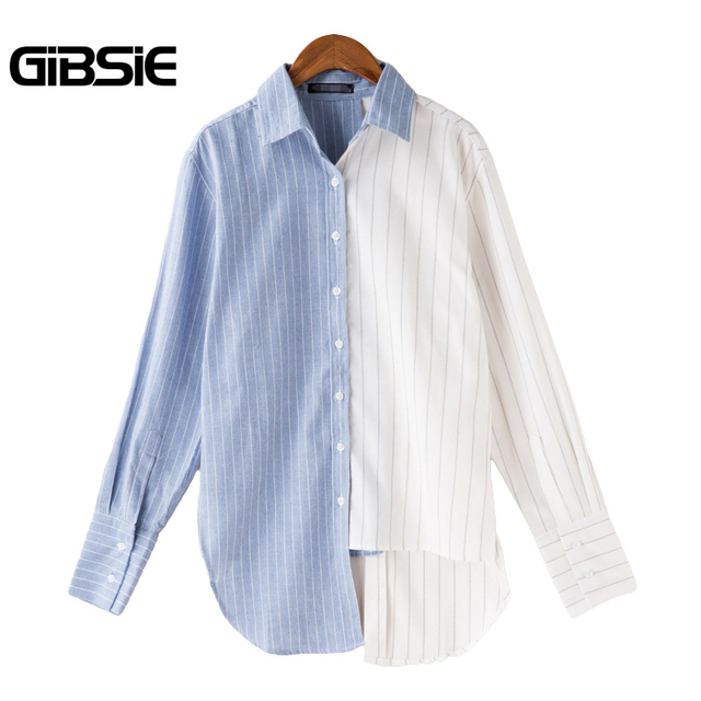 4bf80f1d8 GIBSIE Plus Size Women Clothing Blue White Contrast Striped Long Sleeve  Shirt Autumn New Korean Women Casual High Low Top Blusas