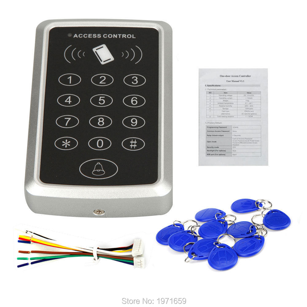 RFID Proximity entry lock door reader Keypad 125KHz EM ID card Access Controller+10 pc keyfobs for free diysecur lcd 125khz rfid keypad password id card reader door access controller 10 free id key tag b100