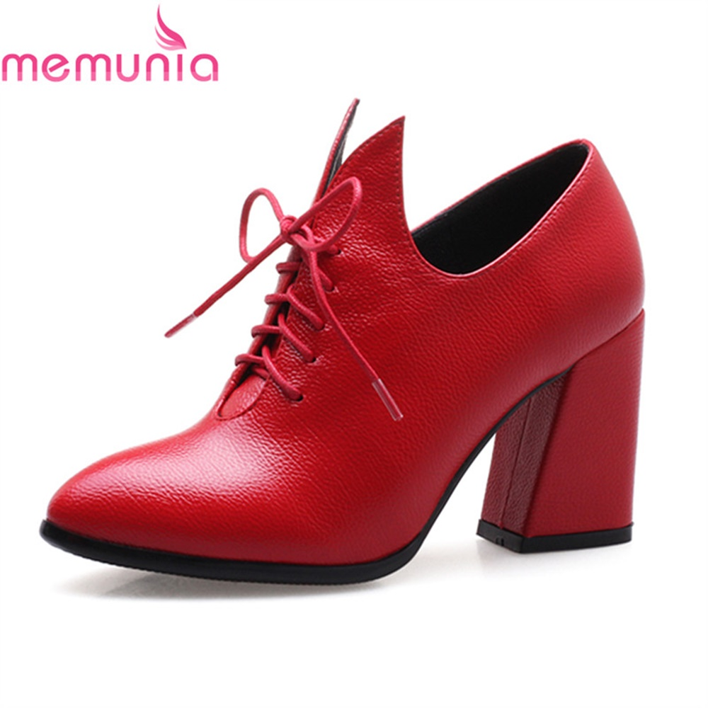 MEMUNIA  pumps women shoes high heels spring autumn comfortable pointed toe thick heels fashion new arrive single shoes memunia new arrive hot sale genuine