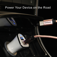 Dual 2 Port USB Universal Car Charger With 3ft Micro Usb Braided Cord For Normal Usb