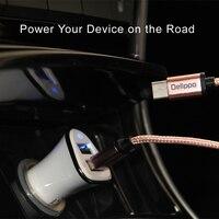 Podwójne 2-port USB Uniwersalny Tablet-Ładowarka Samochodowa Z pleciony przewód do Normalnej stopy micro usb Usb telefon dla sansung