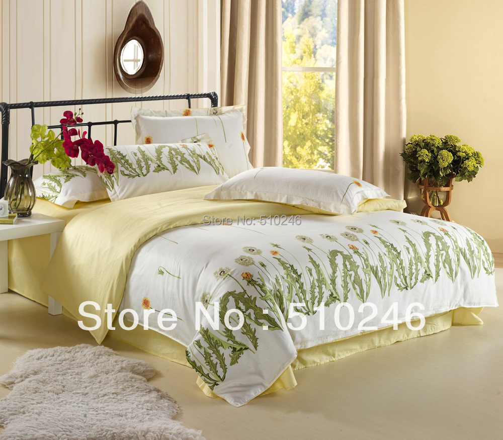 online get cheap yellow flower bedding aliexpresscom  alibaba group - pcs cotton fashion stylel flower printed green yellow queen beddingset bed sheet sets