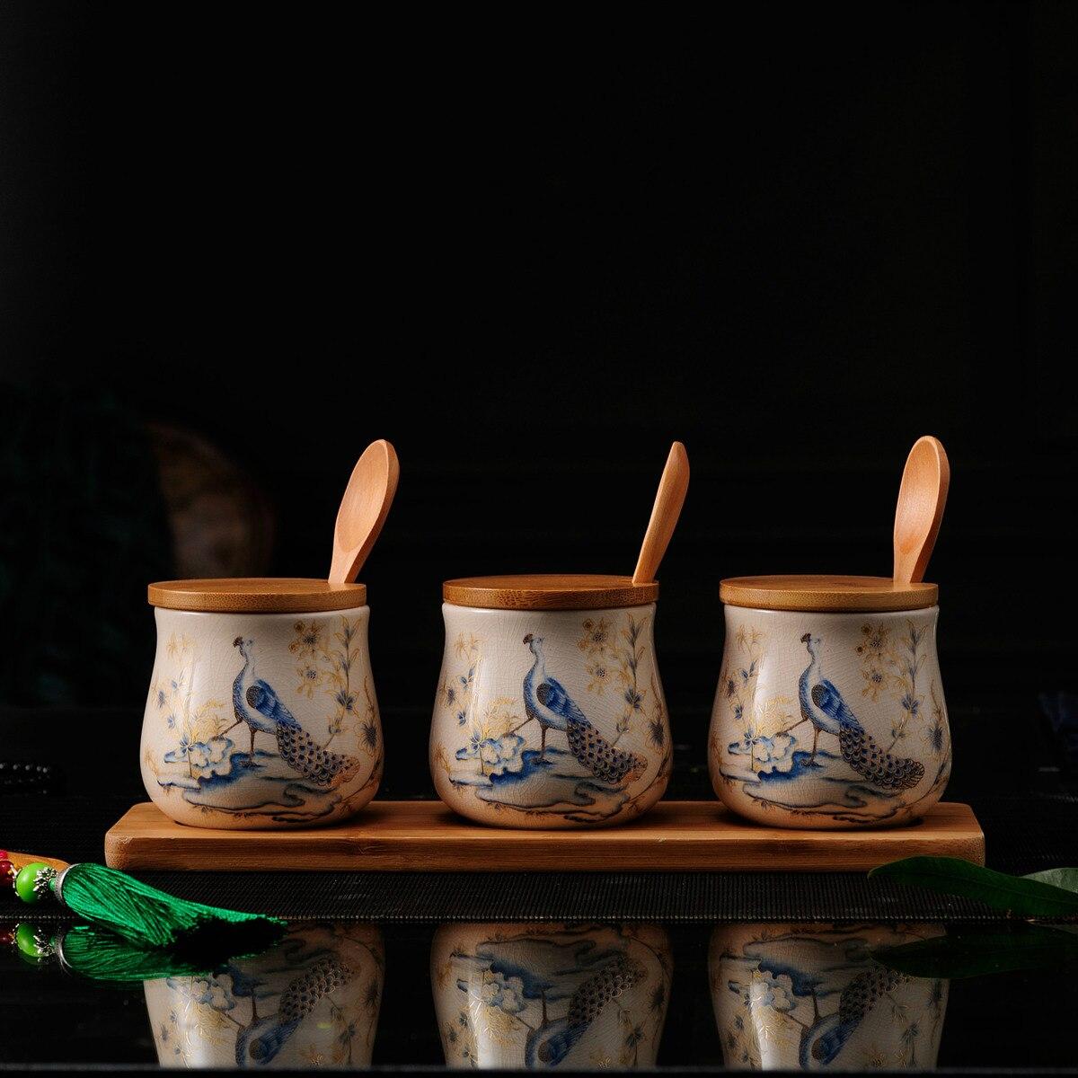 Houmaid nouveauté cuisine créative pots de rangement en céramique pour sel d'épices ensemble avec bambou Rack assaisonnement bouteilles de stockage 3 pièces