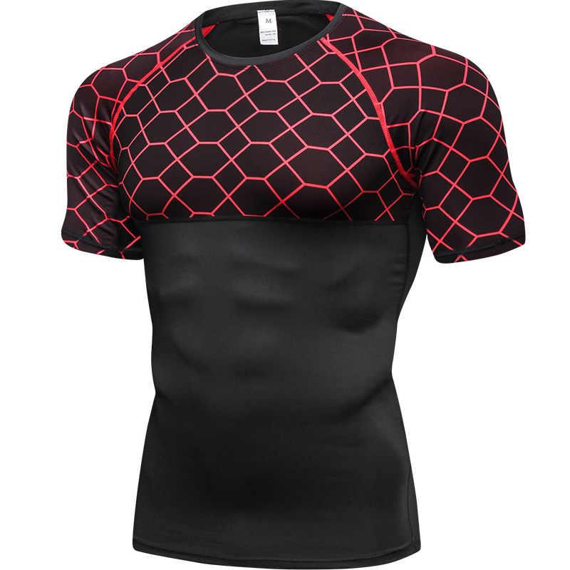 Hot Kebugaran T Kemeja Cepat Kering Kemeja Gym Kaos Olahraga Pakaian Kemeja Pria Sepak Bola Jersey Penjaga Ruam Demix Olahraga