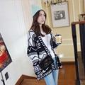 Женщин конструктора Осень зима вязаный кардиган кимоно batwing рукавом рождество свитер геометрический узор шерсть пончо пальто мыса