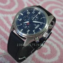 42 мм PARNIS марк стиль японских-кварцевые синхронизации часов холст ремень тонкой стальной мужские часы является матовое