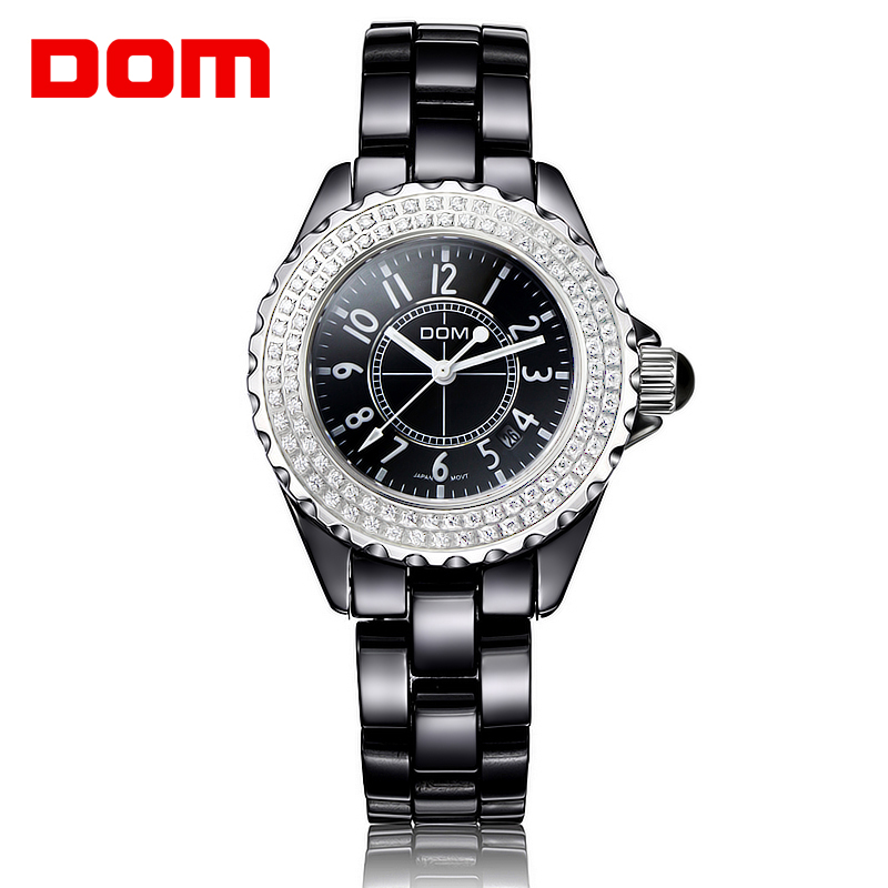 DOM Fashion Casual Ladies Watch Women Rhinestone Ceramic Quartz Women Watches for Girl Waterproof Clock Reloj Mujer Bayan Saat comtex ladies watch spring casual yellow leather women wristwatch for girl new fashion quartz calendar watches reloj clock gift