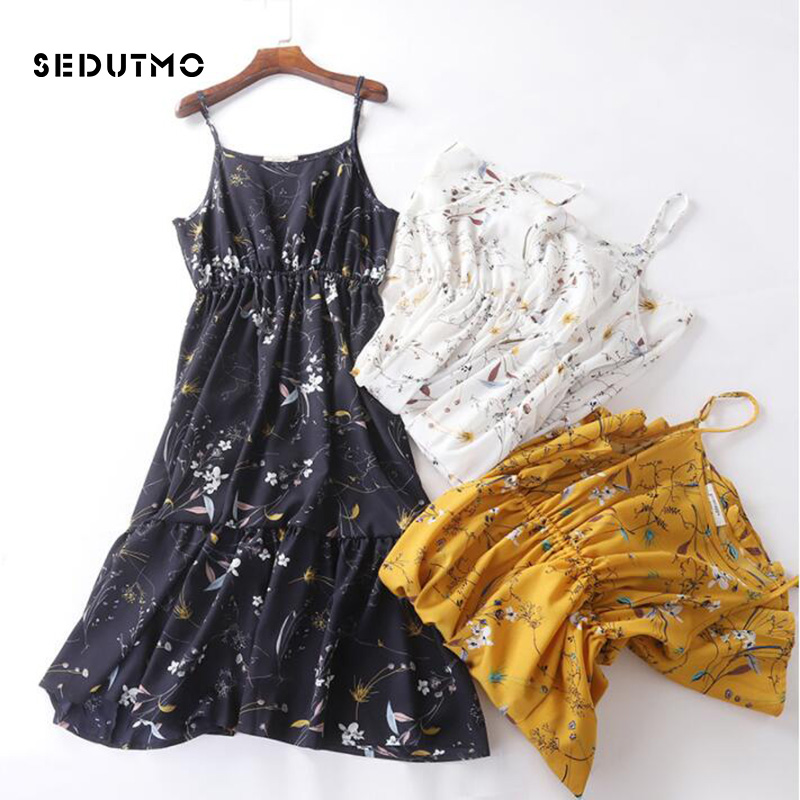 400c911a7ba SEDUTMO Summer Midi Print Dress Women Tunic Chiffon Spaghetti Strap Dresses  Slim Boho Sundress Beach Party