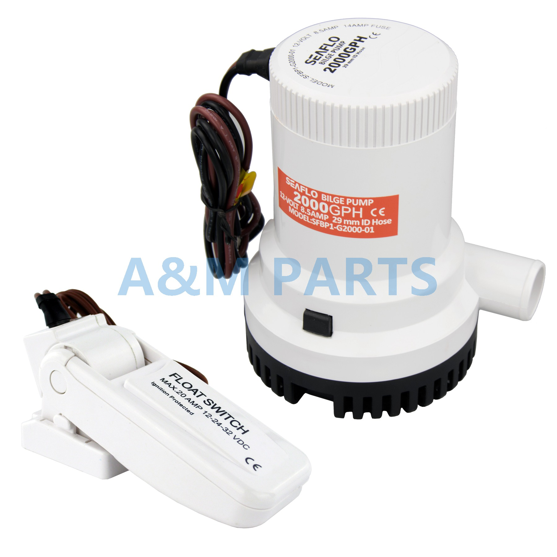 12V 2000GPH Bilge Pump Marine Boat Submersible Water Pump W Float Switch