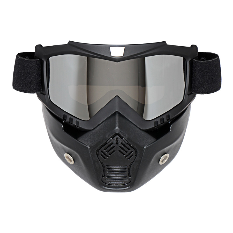 MJMOTO Detachable Motorcycle Goggles Mask With Mouth Filter For Fox Racing Open Face Helmet Vintage Helmets Oculos Motocross In Glasses From