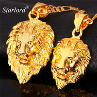 Big Lion Head Pendant Necklace Vintage 2 Size Platinum 18K Real Gold Plated Fashion Jewelry Necklaces