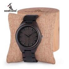 BOBO VOGEL Herren Schwarz Ebenholz Holz Uhren Holz Links Kausalen Quarz-armbanduhr in Geschenk Box benutzerdefinierte logo